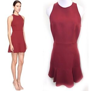 Theory 8 Red Fit Flare Dress Felicitina Scuba